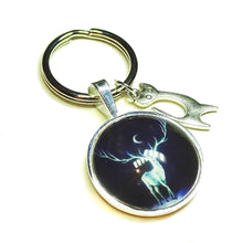 Load image into Gallery viewer, Dark Blue Stag Patronus Glass Cameo Keyring / Key Fob