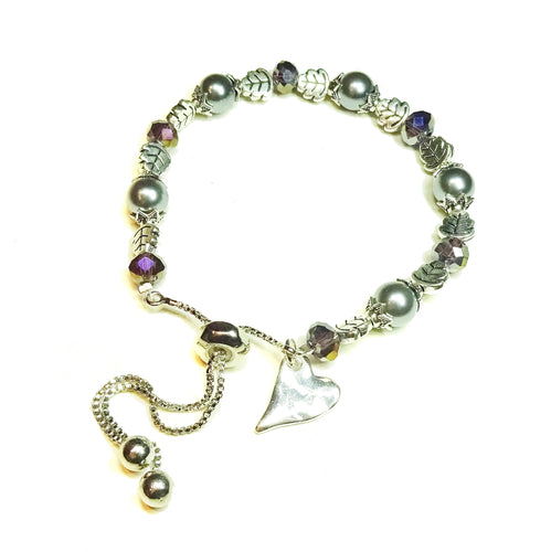 Grey Glass Pearl & Soft Purple Crystal Slider Chain Bracelet