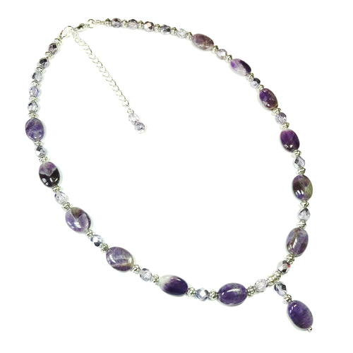 Semi-precious Purple Amethyst & Lilac Crystal Bead Pendant Necklace