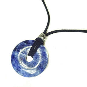 Blue Sodalite Round Gemstone Donut Pendant with Navy Faux Suede- 40mm