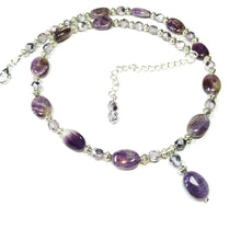Load image into Gallery viewer, Semi-precious Purple Amethyst & Lilac Crystal Bead Pendant Necklace