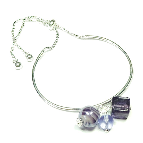 Lilac Glass Bead & Silver Plated Slider Chain Bangle