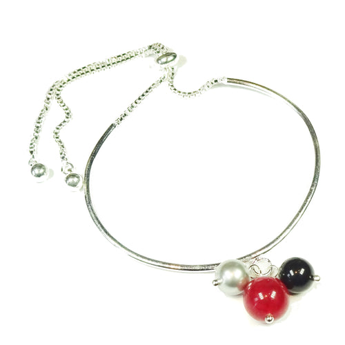 Red Jade Gemstone, Black & Grey Swarovski Glass Pearl Silver Plated Slider Chain Bangle