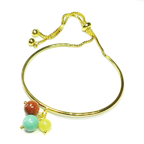 Honey Jade Gemstone, Brown Goldstone & Glass Pearl Gold Plated Slider Chain Bangle