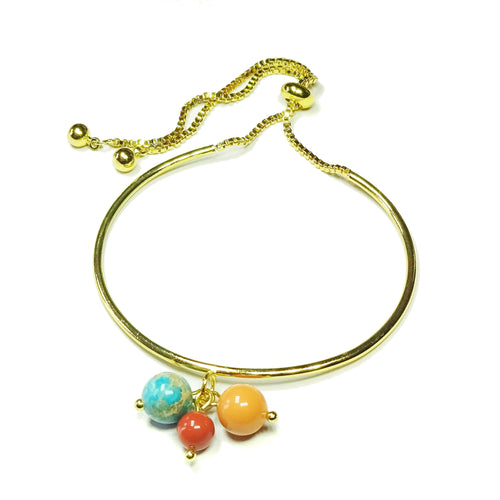 Blue Sea Sediment Jasper Gemstone, Red & Coral Glass Pearl Gold Plated Slider Chain Bangle