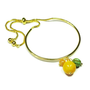 Mountain Jade & Orange Aventurine Gemstone Glass Bead Gold Plated Slider Chain Bangle