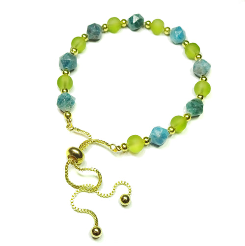 Semi-precious Blue Apatite, Olive Green & Gold Plated Slider Chain Bracelet