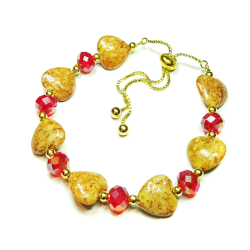 Semi-precious Brown Heart, Red Crystal & Gold Plated Slider Chain Bracelet