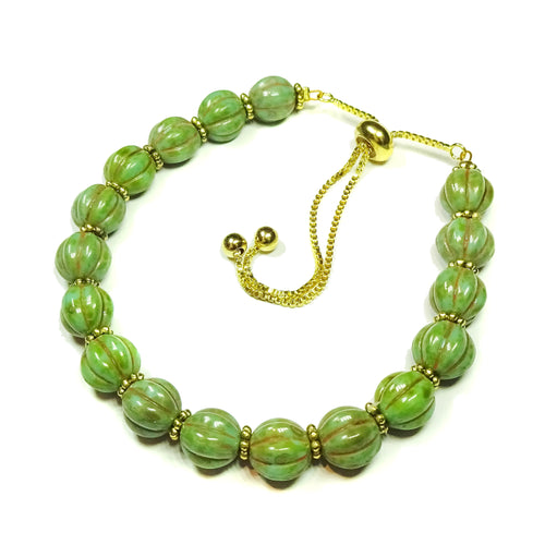 Olive Green Melon Bead Gold Plated Slider Chain Bracelet