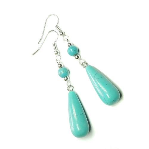 Blue Turquoise Gemstone Long Drop Earrings