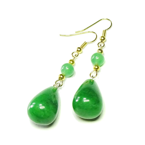Green Jade Gemstone & Gold Plated Long Drop Earrings