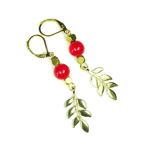Red Bead & Gold Plated Leaf Lever Back Drop Earrings