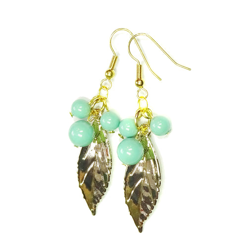 Aqua Blue Swarovski Pearl & Gold Plated Leaf Drop Earrings