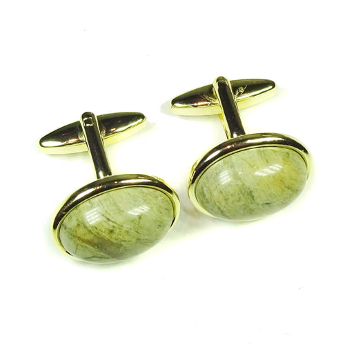 Semi-precious Khaki Green Jasper & Gold Plated Cufflinks