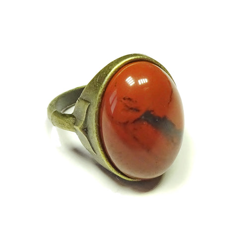 Antique Brass & Red Jasper Gemstone Statement Ring