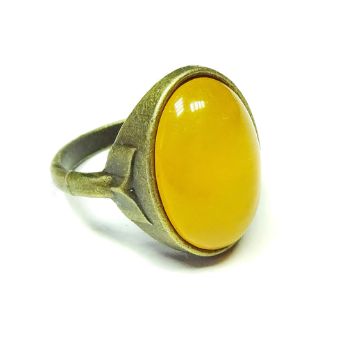 Antique Brass & Yellow Jade Gemstone Statement Ring