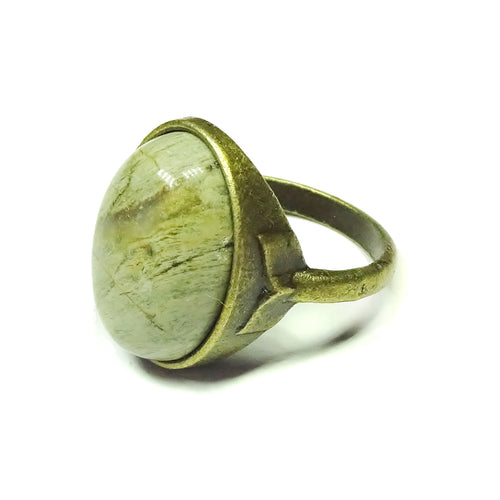 Antique Brass & Khaki Jasper Gemstone Statement Ring