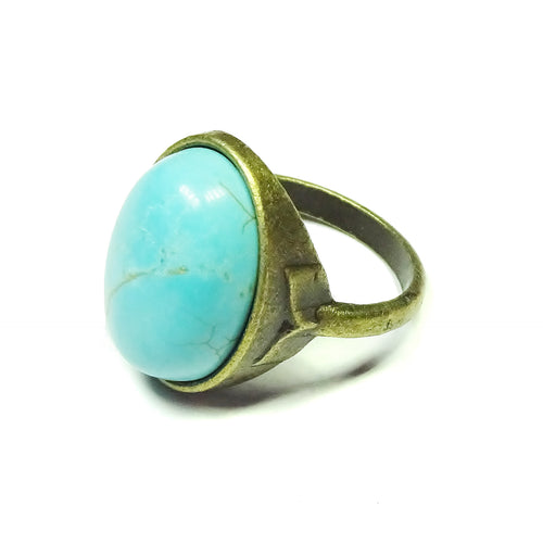Antique Brass & Blue Turquoise Gemstone Statement Ring