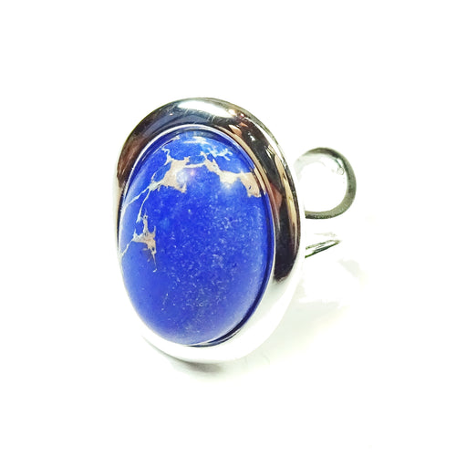 Semi-precious Gemstone Blue Sea Sediment Jasper Statement Adjustable Ring
