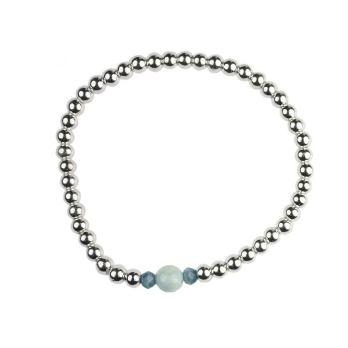 Semi-precious Silver Plated Hematine & Aquamarine Birthstone Bracelet - March