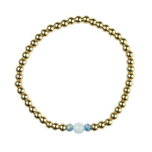Semi-precious Gold Plated Hematine & Aquamarine Birthstone Bracelet - March