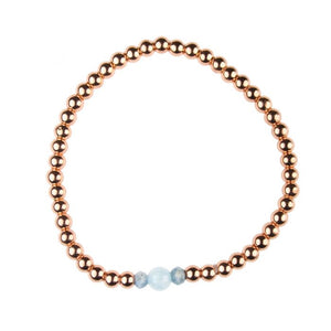 Semi-precious Rose Gold Plated Hematine & Aquamarine Birthstone Bracelet - March