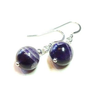Purple Natural Amethyst & Sterling Silver Gemstone Ball Drop Earrings -  12mm