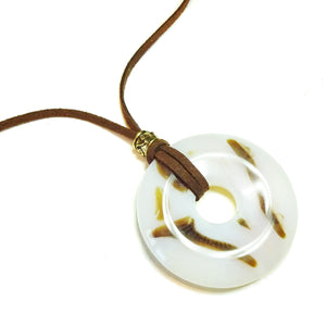 Brown & White Agate Large Round Gemstone Donut Pendant - 50mm