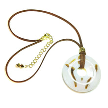 Load image into Gallery viewer, Brown & White Agate Large Round Gemstone Donut Pendant - 50mm