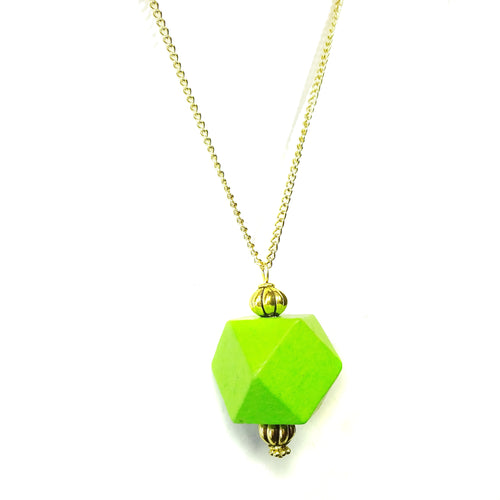 Lime Green & Old Gold Geometric Wood Pendant