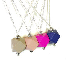 Load image into Gallery viewer, Soft Pink & Antique Silver Geometric Wood Pendant