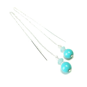Blue Turquoise Gemstone Sterling Silver & Swarovski, Long Drop Chain Ear Threads - 170mm