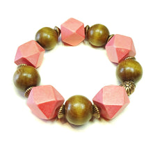 Load image into Gallery viewer, Orange Brown Wood Bead & Copper Chunky Stretch Charm Bracelet 21cm