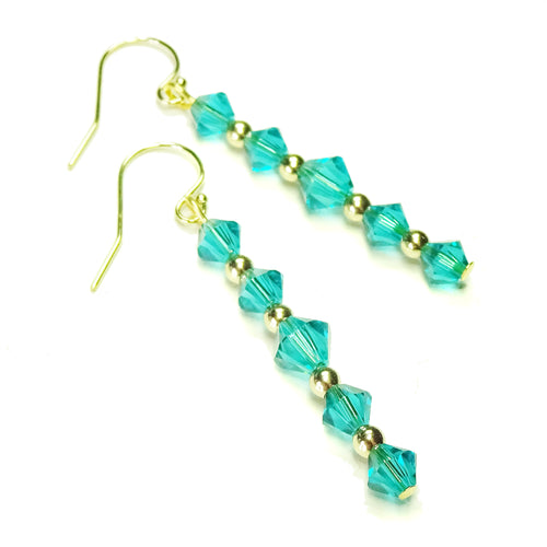 Kingfisher Blue Swarovski Crystal & Gold Drop Earrings