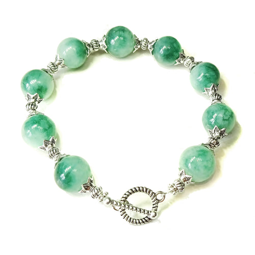 Green & White Quartz Semi-precious Gemstone Bracelet 21cm
