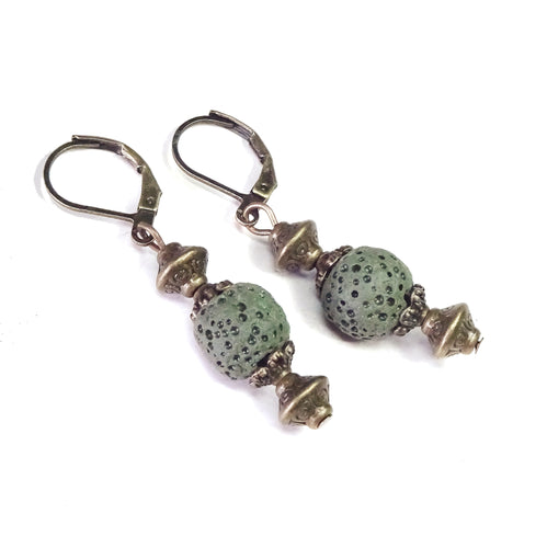 Khaki Green Lava Stone & Antique Brass Lever Back Earrings