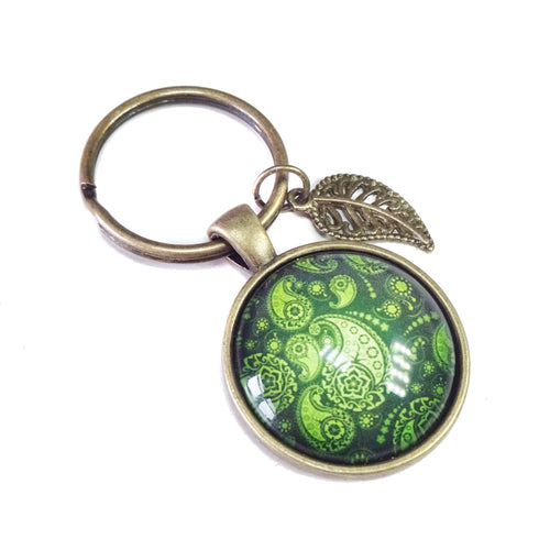 Olive Green Glass Cameo & Antique Brass Keyring / Fob