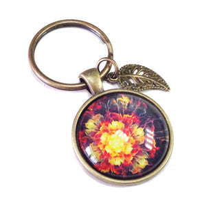 Red and Orange Flower Glass Cameo & Antique Brass Keyring / Key Fob