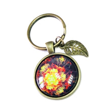 Load image into Gallery viewer, Red and Orange Flower Glass Cameo & Antique Brass Keyring / Key Fob