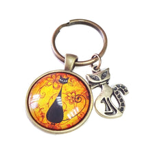 Load image into Gallery viewer, Black Cat Glass Cameo & Antique Brass Keyring / Fob