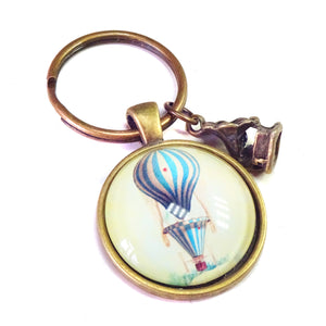Vintage Steampunk Style Balloon Glass Cameo & Antique Brass Keyring / Key Fob