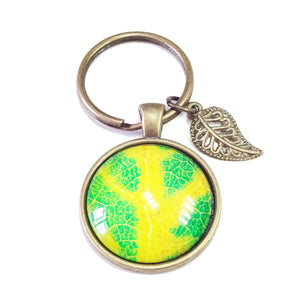 Bright Green & Yellow Leaf Glass Cameo & Antique Brass Keyring / Fob