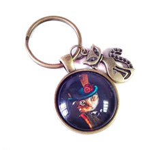 Load image into Gallery viewer, Vintage Steampunk Style Cat Glass Cameo & Antique Brass Keyring / Key Fob