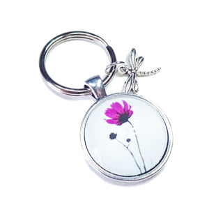 White & Bright Pink Flower Glass Cameo Keyring / Key Fob