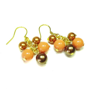 Coral & Bronze Pearl Gold Plated Cluster Drop Earrings