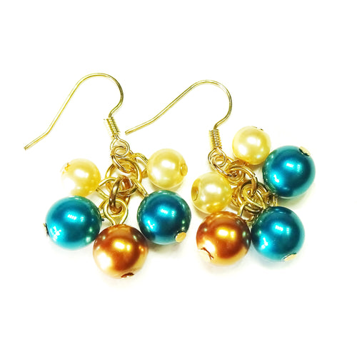Teal Blue & Golden Pearl Cluster Drop Earrings