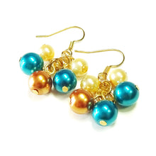 Load image into Gallery viewer, Teal Blue & Golden Pearl Cluster Drop Earrings