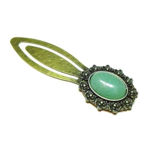 Green Aventurine Semi-precious Gemstone Brass Clip Bookmark