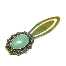 Load image into Gallery viewer, Green Aventurine Semi-precious Gemstone Brass Clip Bookmark
