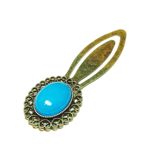 Blue Electric Spar Semi-precious Gemstone Brass Clip Bookmark